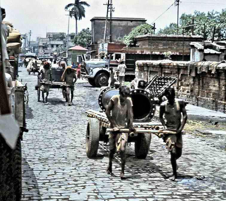 Industrial delivery of steam boilers on the streets of Howrah section of Calcutta
