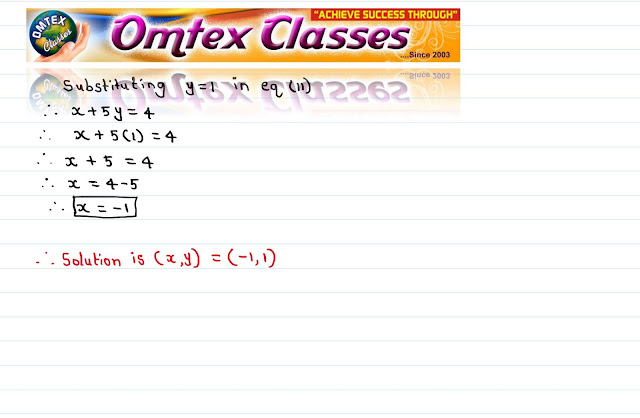 Solve the following simultaneous equations 5x + 2y = - 3; x + 5y = 4