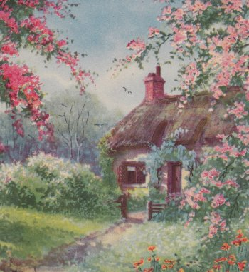 Vintage greeting card - cottage and blossoms