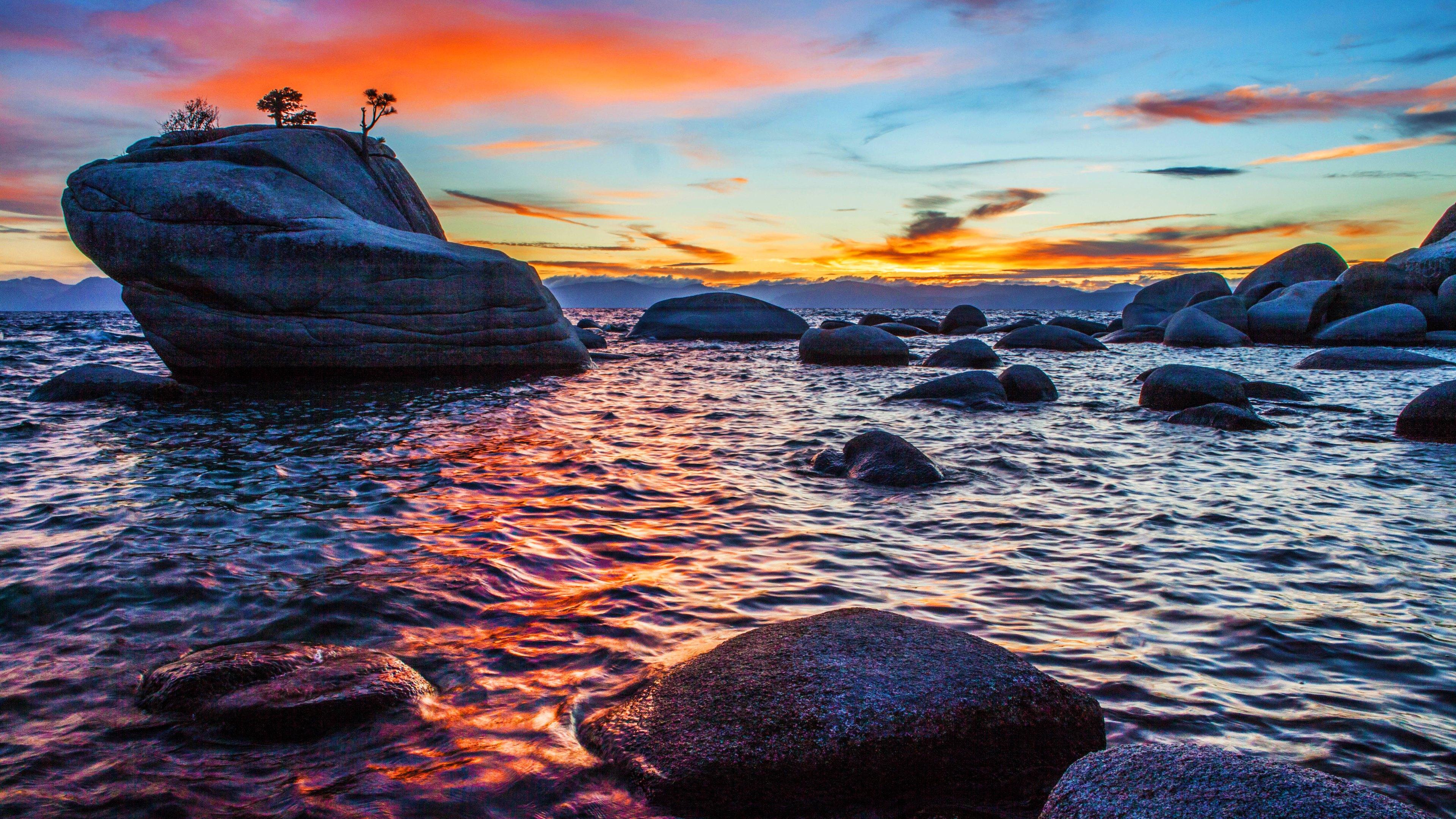 4k hd wallpaper bonsai rock sunset at lake tahoe