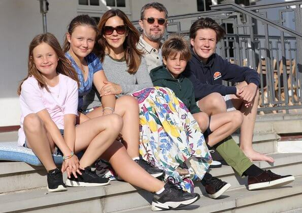 Crown Prince Frederik, Crown Princess Mary, Prince Christian, Princess Isabella, Prince Vincent and Princess Josephine at summer holiday