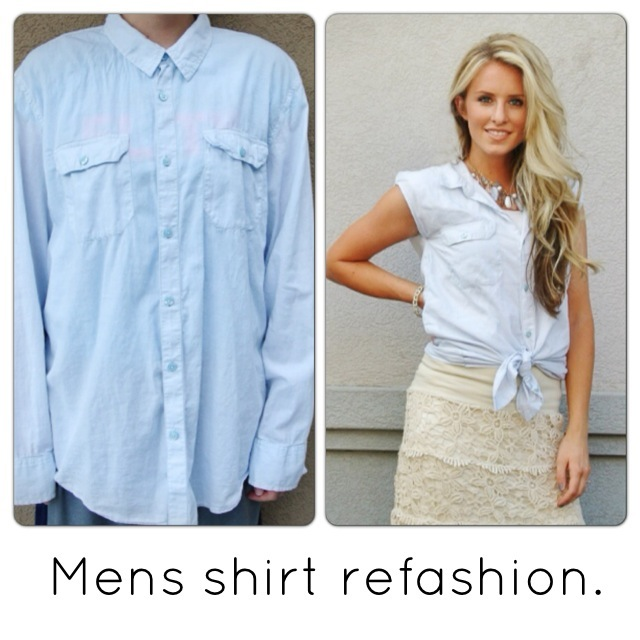 Simple way to refashion a large mens shirt