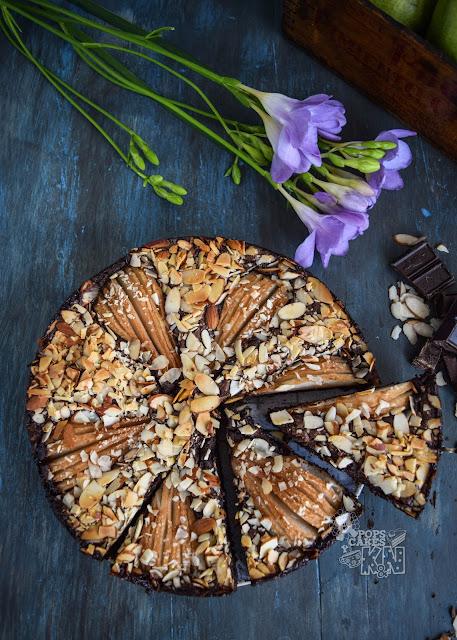 choco-brownie-peras y almendras