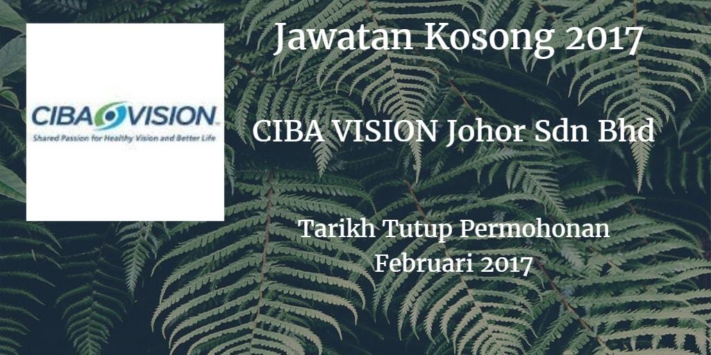 Jawatan Kosong CIBA VISION Johor Sdn Bhd Februari 2017