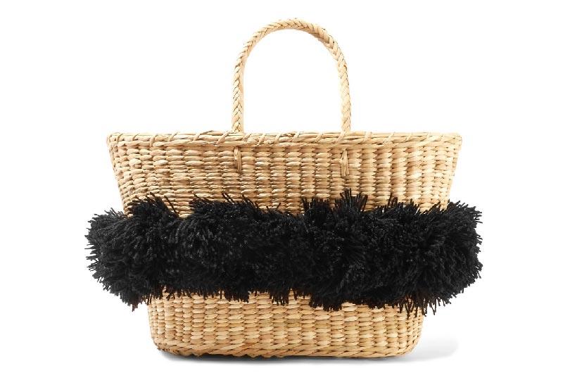 borsa di paglia con pom pom black
