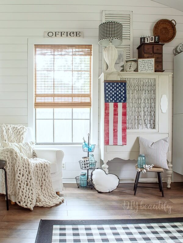 vintage office with patriotic banner