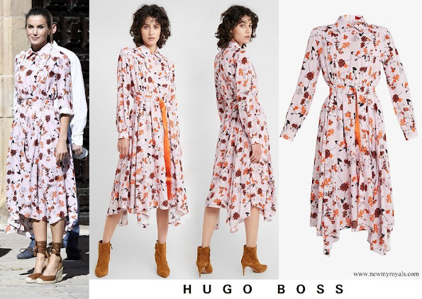 Queen Letizia wore Hugo Boss Kalocca floral print shirt dress