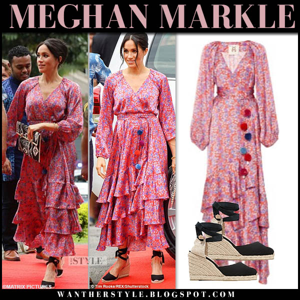 Meghan Markle in floral pink ruffled dress figue and black wedges castaner fiji royal tour style october 24