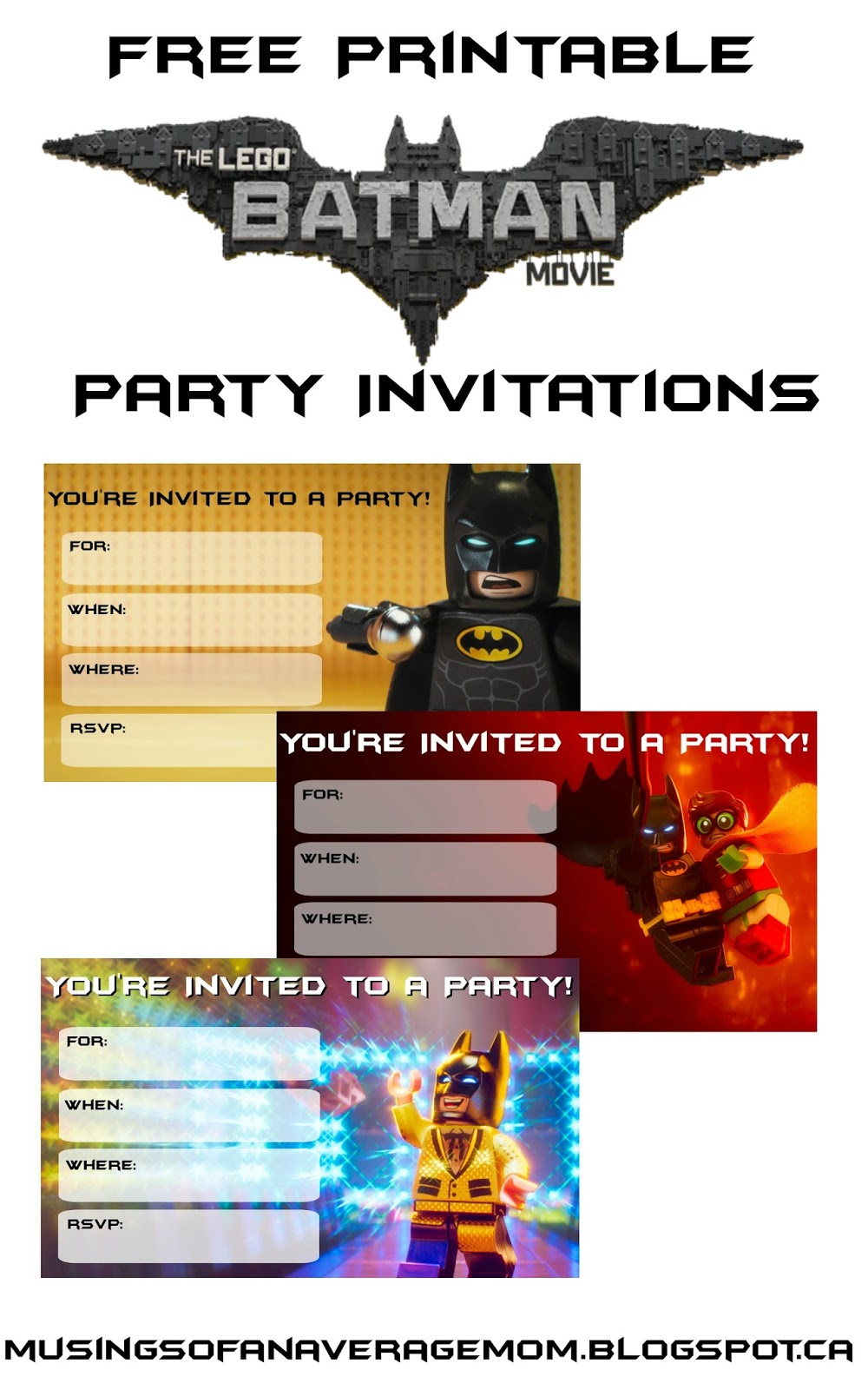Musings of an Average Mom Everything you need for a Lego Batman Party – Lego Party Invitations Printable