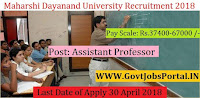 Maharshi Dayanand University Recruitment 2018–28 Assistant Professor, Professor