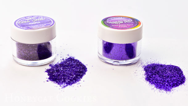 Comparison between disco dust and edible glitter in purple, photo by Honeycat Cookies