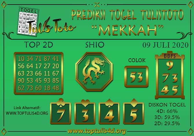 Prediksi Togel MEKKAH TULISTOTO 09 JULI 2020