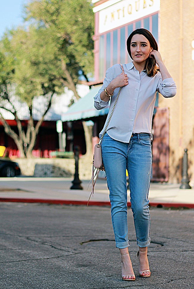 Weekend Outfit: Uniqlo Skinny Jeans & Rayon Blouse