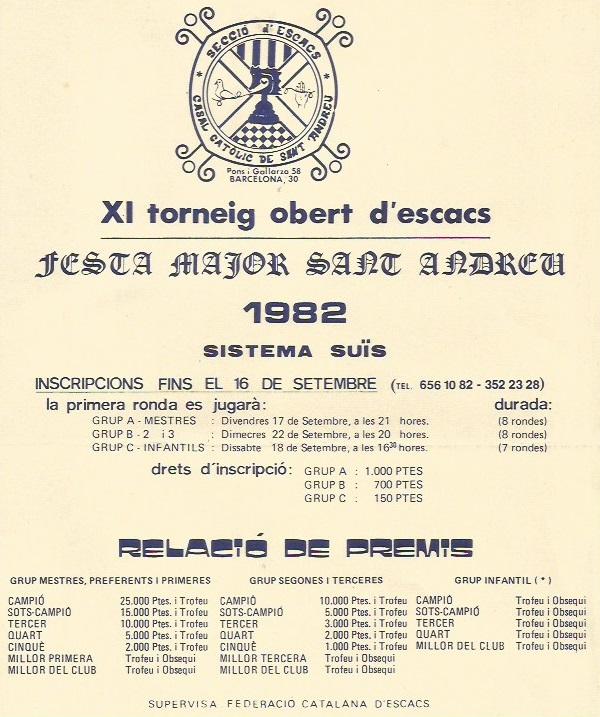 Poster Publicitario del XI Torneig Obert Festa Major de Sant Andreu 1982