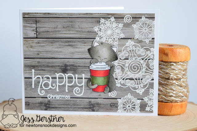 Christmas Coffee Card by Jess Gerstner featuring Newton's Nook Designs Newton Loves Coffee and Beautiful Blizzard
