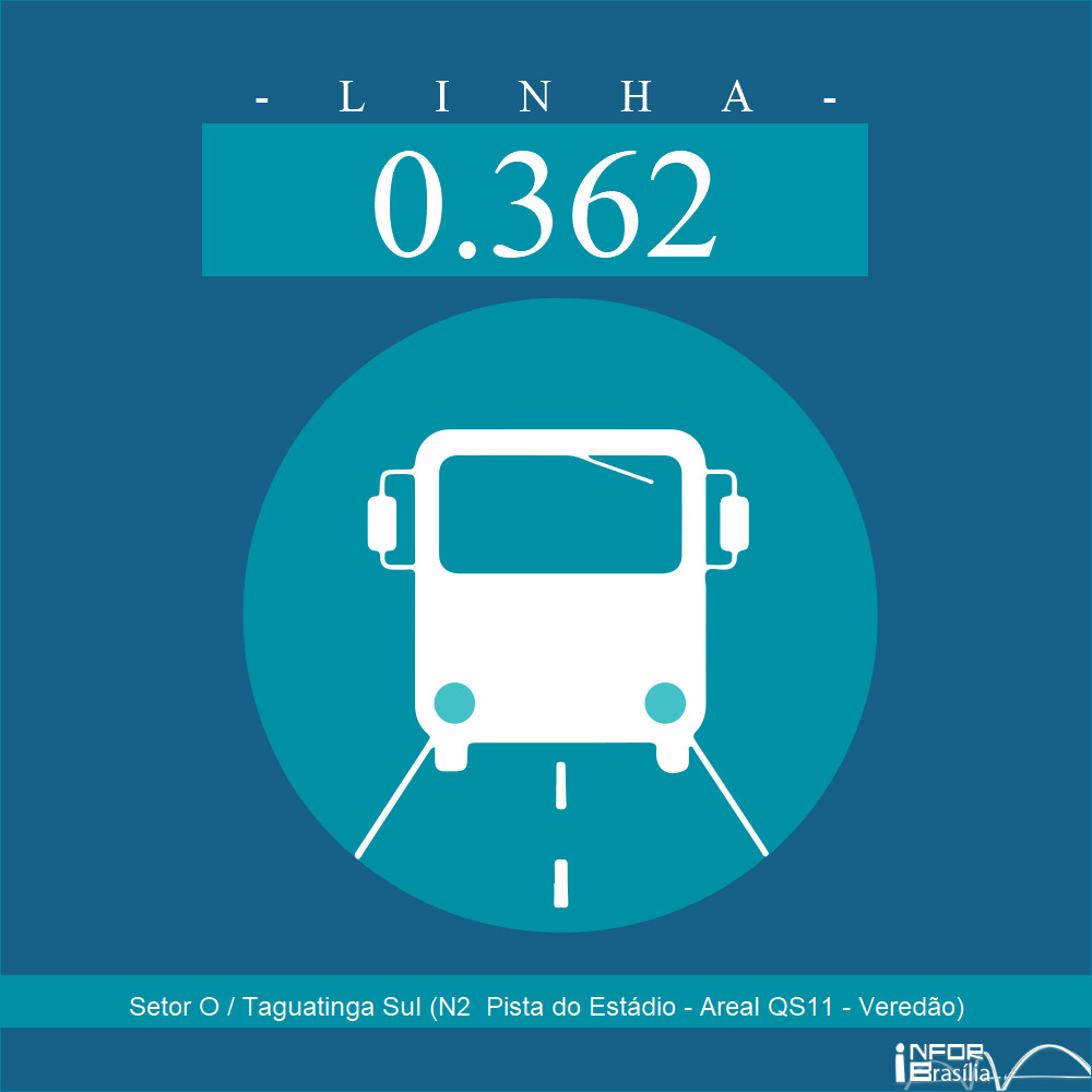 Horário de ônibus e itinerário 0.362 - Setor O / Taguatinga Sul (N2  Pista do Estádio - Areal QS11 - Veredão)
