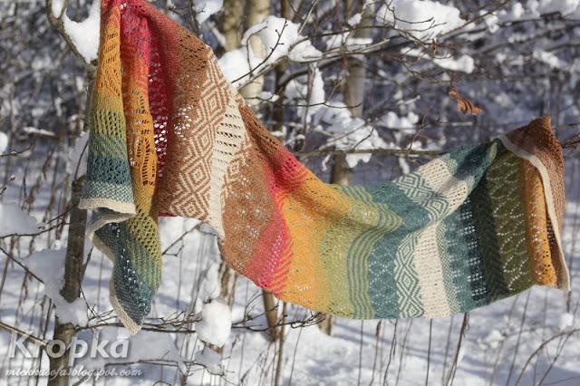 Kolorowy ażurowo-żakardowy szal na drutach.