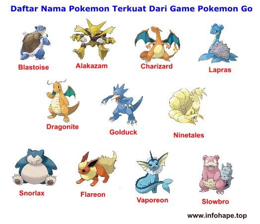 Daftar Nama Pokemon Terkuat Dari Game Pokemon Go
