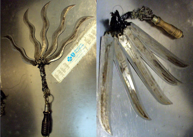 Two 5-bladed floggers.