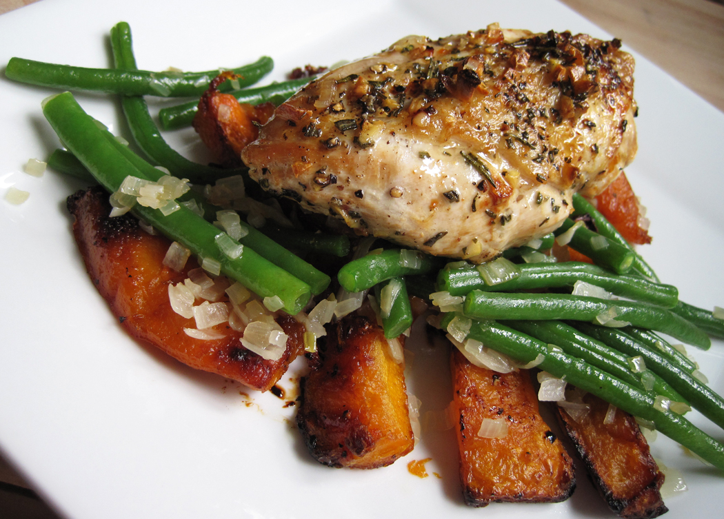 Pan-Roasted Chicken with Honey Roasted Butternut Squash