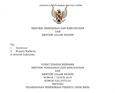 Download Surat Edaran/SE Bersama Mendikbud dan Mendagri No 1 Tahun 2O19 NO 42O/2973/SJ Tentang Pelaksanaan PPDB 2019 I pdf