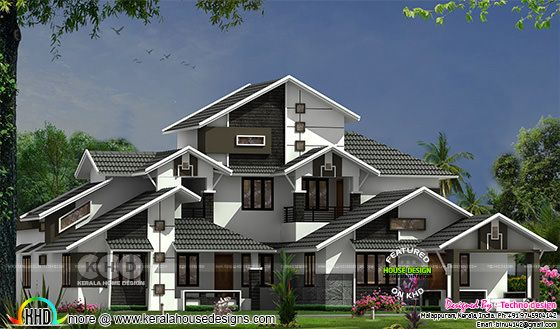 Sloping roof style wide home plan