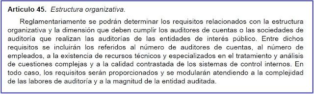 Artículo 45 de la Ley 22/2015, de Auditoría de Cuentas