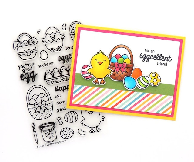 Sunny Studio: A Good Egg Easter Card by Creations Galore.