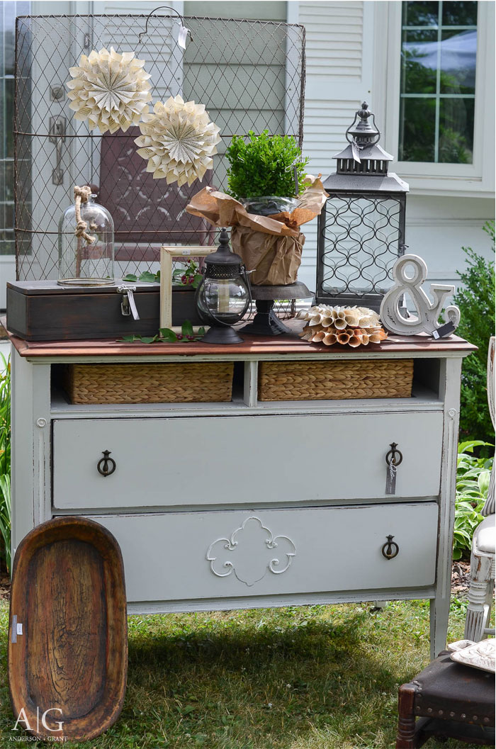 Antique dresser buffet displayed at a vintage market  |  www.andersonandgrant.com