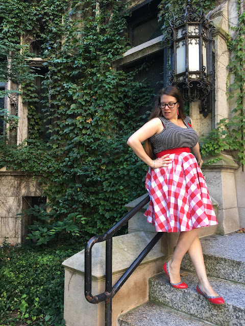 red gingham modcloth skirt