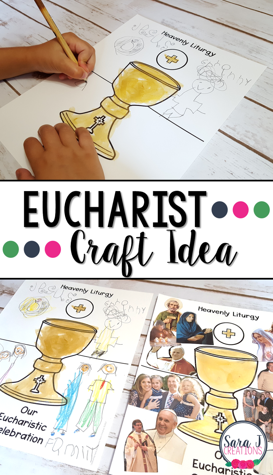 Eucharist craft idea that is perfect for teaching about Holy Communion or the Seven Sacraments. This craft connects our liturgy on earth to the heavenly liturgy.