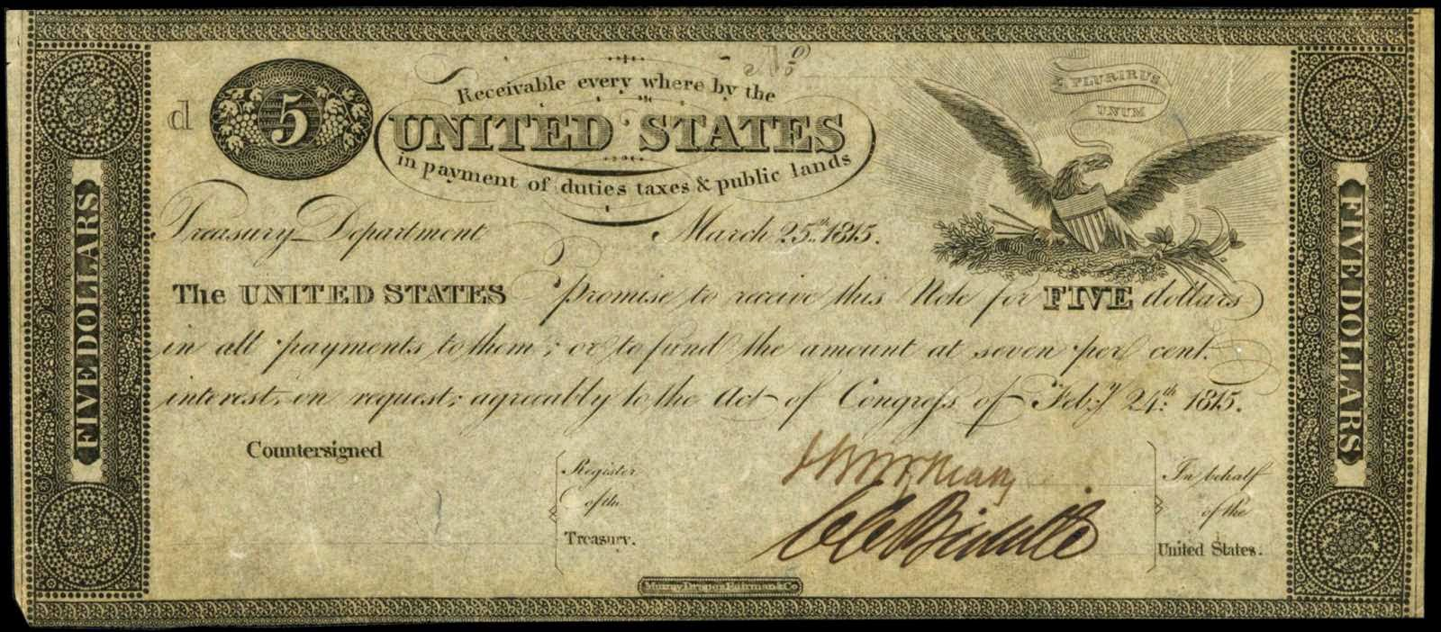United States paper money 5 Dollar Treasury Note 1815