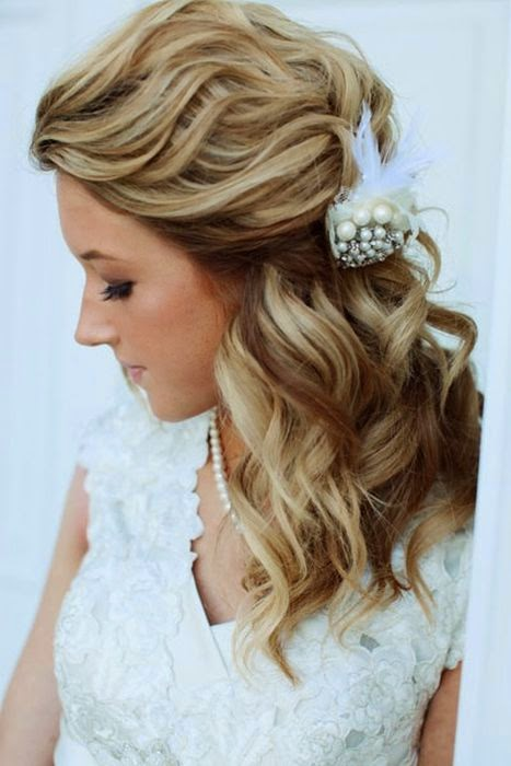 LONG STRAIGHT HAIRCUTS: Half up half down wedding hairstyles