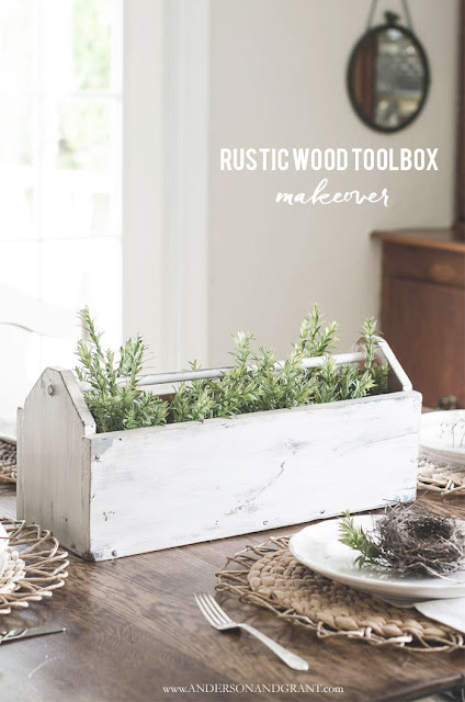 Tool box centerpiece with greenery