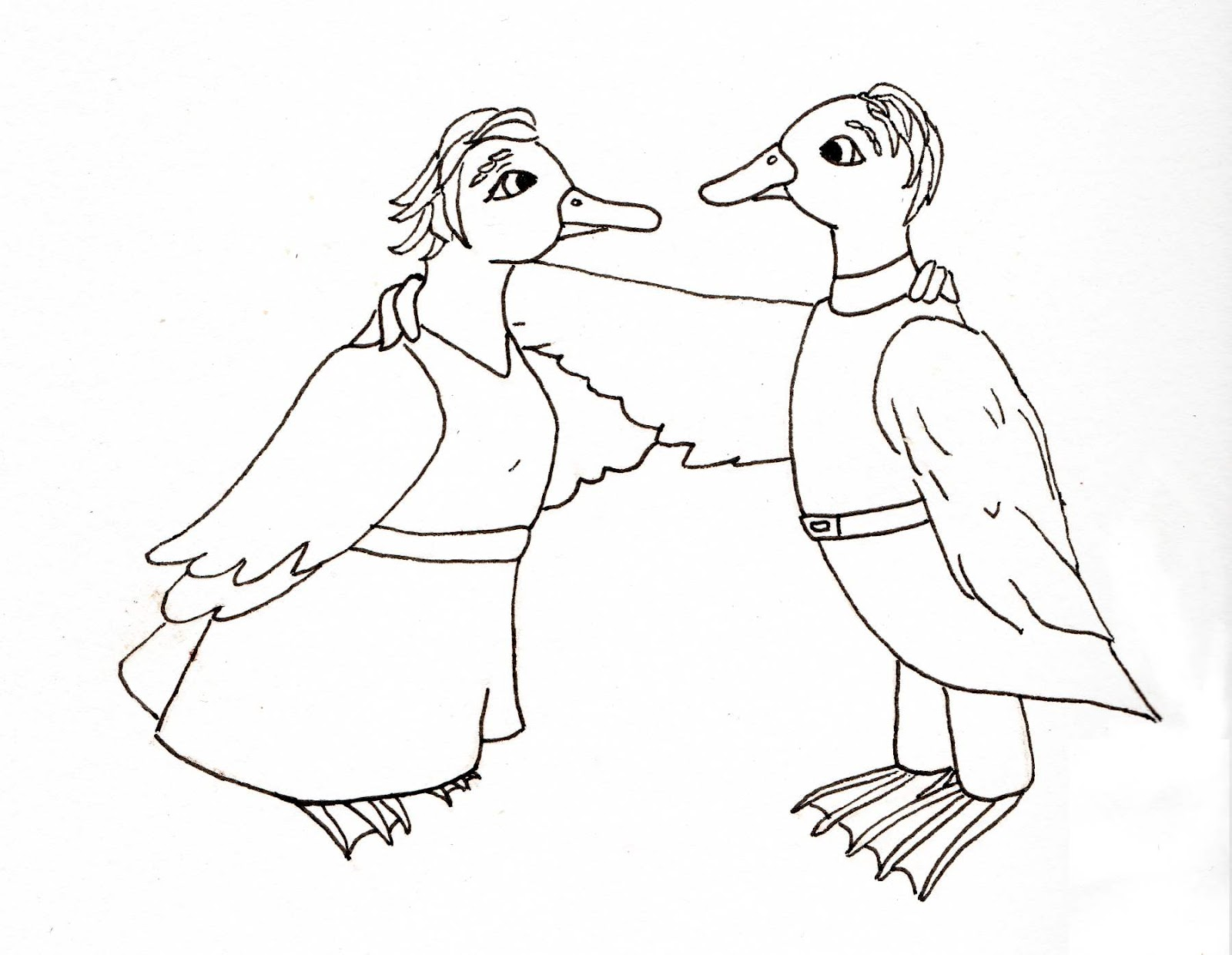 Dani Duck Artist Obscure Line Drawing The Ducks