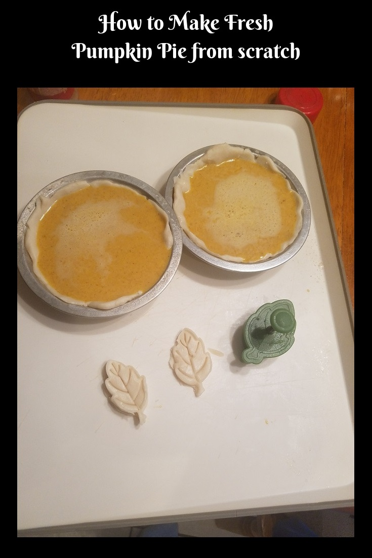 this is fresh baked homemade pumpkin pie made with fresh homemade pumpkin puree and homemade pie crust. The puree was made in a slow cooker and the pies are getting ready to be baked in the oven