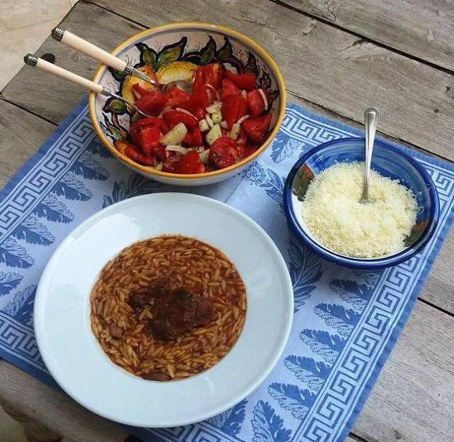 Giouvetsti - youvetsi - Greek horiatiki salad,  grated cheese