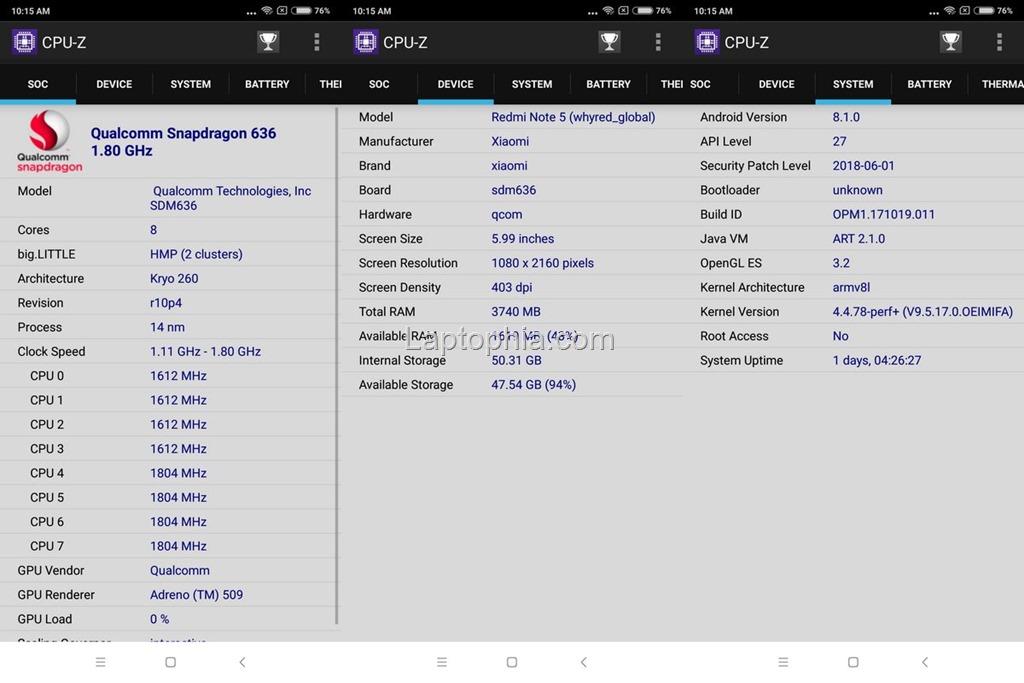 CPU-Z Xiaomi Redmi Note 5