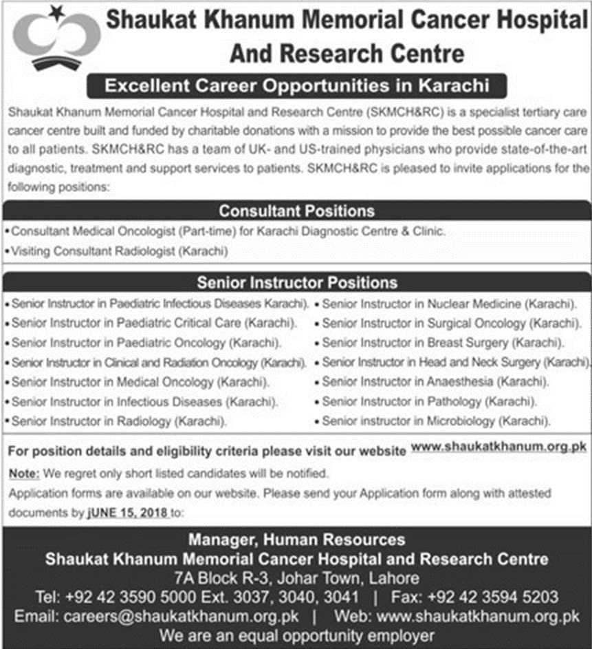 Shaukat Khanum Memorial Cancer Hospital Latest Jobs 2018