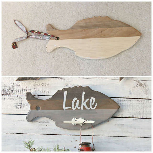 Repurposed Thrift Shop Cutting Board Wall Hook #Lakedecor #oldsignstencils #stencil