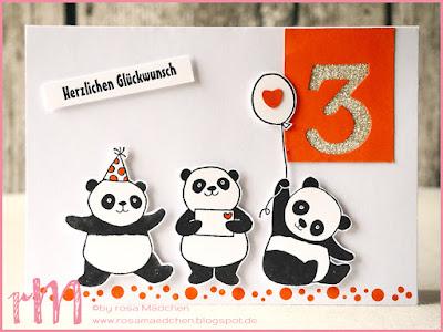 Stampin' Up! rosa Mädchen Kulmbach: Geburtstagskarte mit Party Pandas