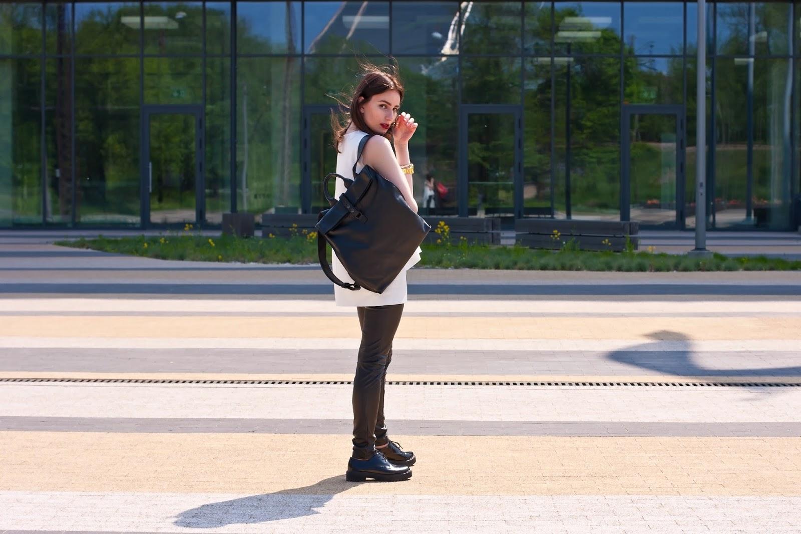 Black Bag Backpack + Reinis Ratnieks Top