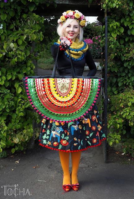 dalahast, ethno, folk, infinity scarf, Mandors, Minerva Crafts, pom poms, pom-pom trim, rainbow, ricrac, vegan bag, vegan leather,