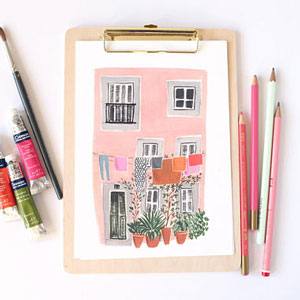 Emma Block - Lisbon Pink House art print on Etsy