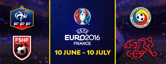 Hollywoodbets Bet Euro 2016 Group A Banner With Link To Our Group A Preview as well as France, Romania, Switzerland, and Albania Country Crests