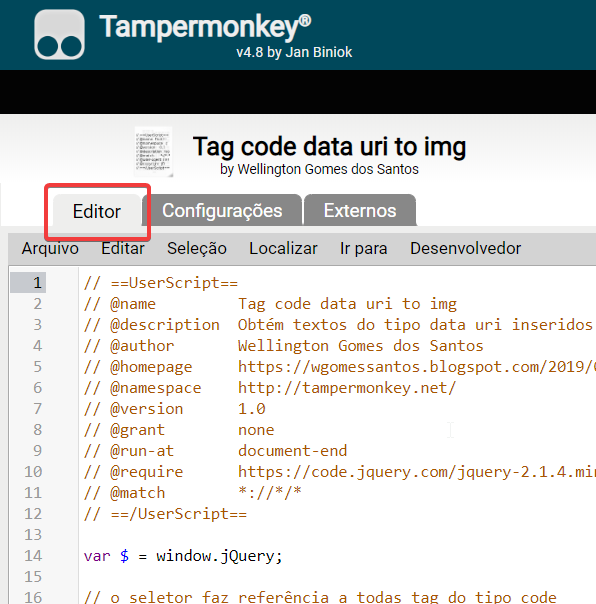 wgomessantos: Tampermonkey - Ativando o meu script