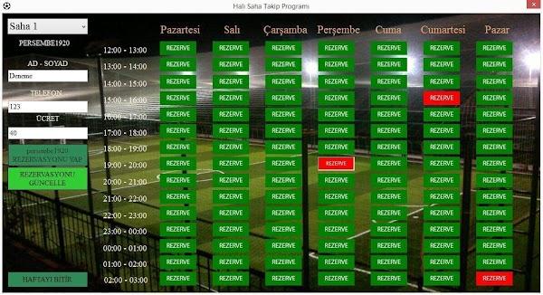 C# Halı Saha Takip Programı Otomasyonu