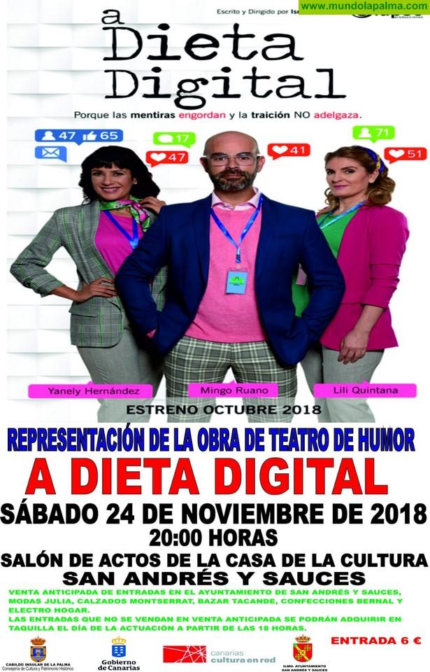 El Cabildo lleva este sábado el humor a la Casa de la Cultura de San Andrés y Sauces con la comedia teatral 'A dieta digital'