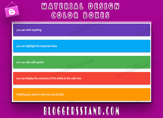 How To Create make Material Design Color Boxes