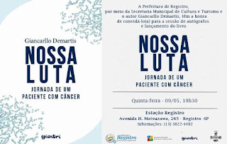 """Cultura de Registro-SP convida para noite de autógrafos e lançamento regional do Livro """"Nossa Luta"""" nesta quinta, dia 09"""